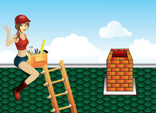 Repair of the roof. Illustration of a girl in the sky, which is repairing the roof Royalty Free Stock Image