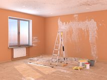 Repair in the room. Painting and plastering of walls. 3d illustration vector illustration