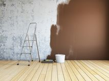 Repair in room. Repair and painting of walls in room. 3D illustration Royalty Free Stock Photography