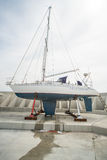 Repair of sailing yacht on the new pier Sarafovo in Bourgas, Bulgaria Stock Photos