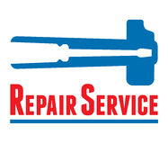 Repair Service. Symbol. Basic elements screwdriver & hammer sign. Vector without gradients Stock Image