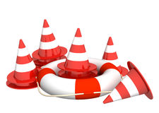 Repair service. 3d bright road cones and lifebuoy - over white Stock Photos