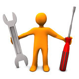 Repair Service. Orange cartoon character with spanner and screwdriver Stock Photo