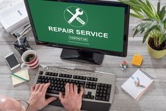 Repair service concept on a computer Royalty Free Stock Photo
