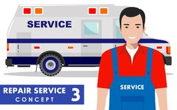 Repair service concept. Detailed illustration of service machine and master repairer on white background in flat style Stock Photo