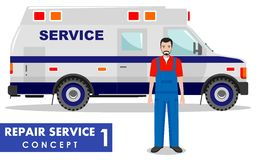 Repair service concept. Detailed illustration of service machine and repairer on white background in flat style. Vector Royalty Free Stock Images