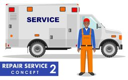 Repair service concept. Detailed illustration of service machine and repairer on white background in flat style. Vector Royalty Free Stock Image