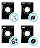 Repair Service Concept. Simple Icons Set: Wrench, Screwdriver, Hammer And Gear. Mending Of Washing Machine. Vector Stock Photos