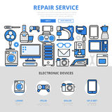 Repair service electronic home appliances flat line art icons Royalty Free Stock Image