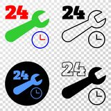24-7 Repair Service Vector EPS Icon with Contour Version stock illustration