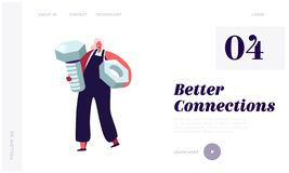 Free Repair Service Female Call Master Website Landing Page. Female Character Holding Huge Screw And Nut In Hands For Fixing Stock Image - 162932681