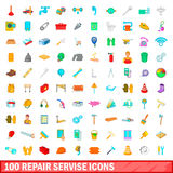 100 repair service icons set, cartoon style Stock Photo