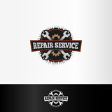repair service logo, wrenches and gears elements, mechanical tools vector illustration. Stock Images