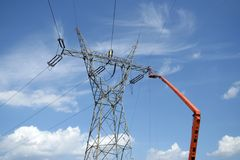 Repair service on power pylon Stock Images