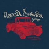 Repair service, retro car, vector t-shirt print Royalty Free Stock Photography
