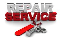 Repair service sign. 3d illustraion of repair service sign and wrench, over white background Royalty Free Stock Images