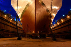 Repair ship. Preparation of the vessel to leave the dock Royalty Free Stock Images