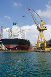 Repair of ship stock image