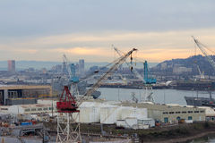 Repair Shipyard along Willamette River in Portland Oregon Stock Photography