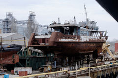 Repair of a small ship Stock Image