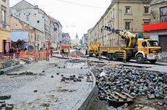 Repair street Gorodockaya in Lvov Royalty Free Stock Photos