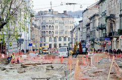 Repair street Gorodockaya in Lvov Royalty Free Stock Images