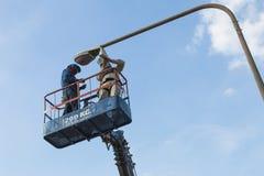 Repair street lighting Stock Photo