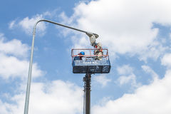 Repair street lighting Royalty Free Stock Photos