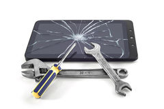 Repair of the tablet computer. Symbolic image of a repair of the tablet PC Royalty Free Stock Photos