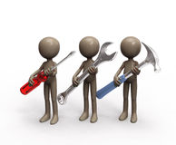 Repair team with tools Royalty Free Stock Images
