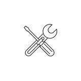 Repair thin line icon, settings outline vector logo illustration. Wrench and screwdriver linear pictogram isolated on white Royalty Free Stock Image