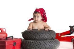 Repair tire white Royalty Free Stock Images