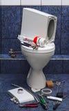 Repair toilet. Repair broken toilet, the theme of the work, work Royalty Free Stock Image