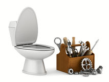 Repair toilet on white background Stock Images