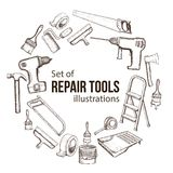 Repair tool illustration. Set of building repair tools, sketch illustration of repair tool. Vector vector illustration
