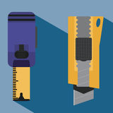 Repair tools. Meter and knife Stock Image