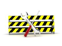 Repair tools behind safety board Stock Photography