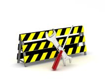 Repair tools behind safety board Royalty Free Stock Photos
