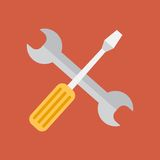 Repair tools icon. Technological instrument. Flat. Icon in the flat style gaichny key and screwdriver Royalty Free Stock Image