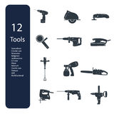12 repair tools icons. Construction repair tools flat icon set vector illustration
