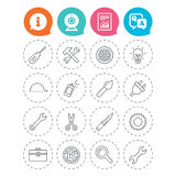 Repair tools icons. Hammer with wrench key. Royalty Free Stock Photos