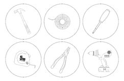 Repair tools line art icons set. Vector linear illustrations  on white Royalty Free Stock Images