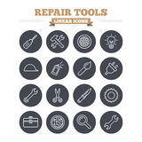 Repair tools linear icons set. Thin outline signs Stock Photo