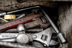 Repair tools. Repair of the master in the toolbox of repair toolsn Stock Photos