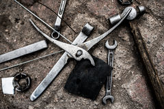 Repair tools. Repair of the master in the toolbox of repair toolsn Stock Images
