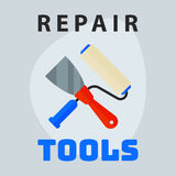 Repair tools spatula roller icon creative graphic design logo element and service construction work business maintenance Royalty Free Stock Image