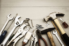 Repair Tools. On wooden table Royalty Free Stock Photos