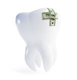 Repair a tooth patch on the dollar. On a white background Stock Photo