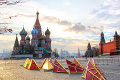 Repair of tower stars on Red Square in Moscow Royalty Free Stock Image
