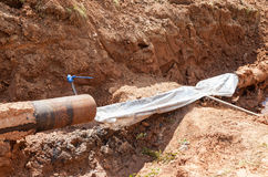 Repair of the underground pipeline Stock Photo